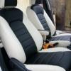 Черно-белые чехлы из экокожи для Ford Ecosport