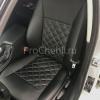 Чехлы для BMW 320 E90 из черной экокожи с ромбом №1