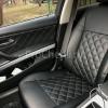 Чехлы для BMW 320 E90 из черной экокожи с ромбом №4