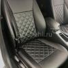 Чехлы для BMW 320 E90 из черной экокожи с ромбом №5