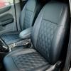 Чехлы для Ford Focus 2 из черной  экокожи с ромбом №1