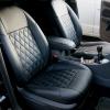 Чехлы для Ford Focus 2 из черной  экокожи с ромбом №2