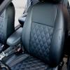 Чехлы для Ford Focus 2 из черной  экокожи с ромбом №3
