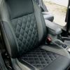 Чехлы для Ford Focus 2 из черно-серой  экокожи с ромбом №1
