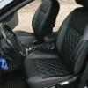 Чехлы для Ford Focus 2 из черно-серой  экокожи с ромбом №3