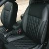 Чехлы для Ford Focus 2 из черно-серой  экокожи с ромбом №4