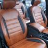 Чехлы из черно-коричневой экокожи для Ford Mondeo 4 №8