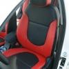 Красно-черный салон Hyundai Solaris. Перетяжка экокожей.