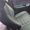 Чехлы для  Honda FR-V из черной и серой экокожи с двойной отстрочкой №1