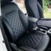Чехлы для Hyundai Elantra 6 из черной экокожи с ромбом №2