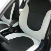 Черно-белые авточехлы из экокожи для Hyundai Solaris №1