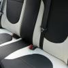 Черно-белые авточехлы из экокожи для Hyundai Solaris №8