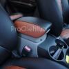 Чехлы для Kia Carens из черной и коричневой экокожи с ромбом №5