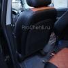Чехлы для Kia Carens из черной и коричневой экокожи с ромбом №7