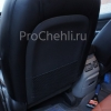 Чехлы для Kia Carens из черной и коричневой экокожи с ромбом №8