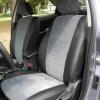 Авточехлы Kia Cerato - черная экокожа. Вставки - серый флок на флоке №1