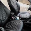 Чехлы для Kia Rio из черной экокожи с ромбом №3