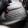 Чехлы для Kia Rio из черной экокожи с ромбом №8