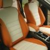 Чехлы для Ford Kuga 2 рестайлинг из красной и белой экокожи №1