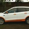 Чехлы для Ford Kuga 2 рестайлинг из красной и белой экокожи №9