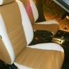 Чехлы из сочетания белой и бежевой экокожи для Mitsubishi Lancer 10