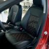 Чехлы для Mitsubishi Lancer X из экокожи  отстрочкой двойной ромб №1