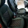 Чехлы для Mitsubishi Lancer X из экокожи  отстрочкой двойной ромб №3