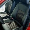 Чехлы для Mitsubishi Lancer X из экокожи  отстрочкой двойной ромб №4