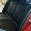 Чехлы для Mitsubishi Lancer X из экокожи  отстрочкой двойной ромб №5