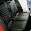 Чехлы для Mitsubishi Lancer X из экокожи  отстрочкой двойной ромб №9