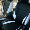 Чехлы из черной и белой экокожи  для Mitsubishi Outlander 4