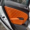 Чехлы для Opel Astra J из коричневой  экокожи с ромбом №7