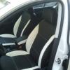 Черно-белые авточехлы с белой строчкой для Skoda Octavia A5