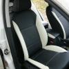 Черно-белые авточехлы с белой строчкой для Skoda Octavia A5 №17