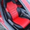 Чехлы из комбинации черной и красной экокожи для Toyota Сelika