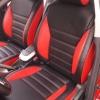 Чехлы для Toyota Auris из черной и красной экокожи №1