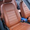 Авточехлы из коричневой экокожи для Volkswagen Tiguan 2011