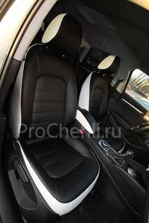 Авточехлы из экокожи Audi A3 8V черно-белые