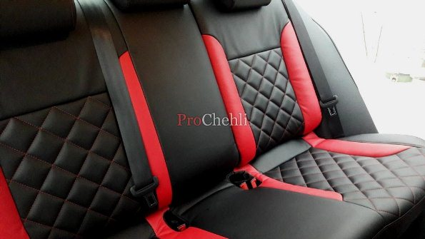 Авточехлы из черно-красной экокожи