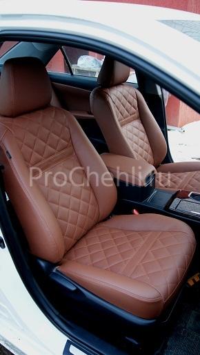 Авточехлы из коричневой экокожи