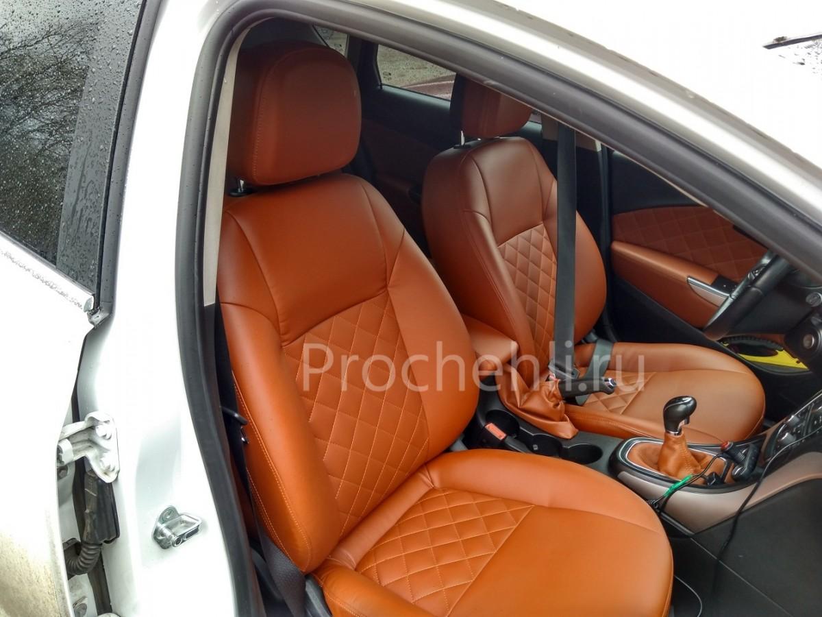 Чехлы на Opel Astra J из рыжей экокожи №1