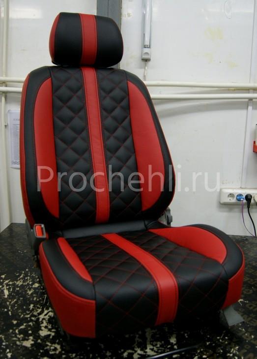 индивидуальная отстрочка сидений на красно-черной экокоже
