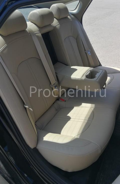 Чехлы для Hyundai Sonata 7 с эффектом перетяжки салона из бежевой экокожи Дакота №4