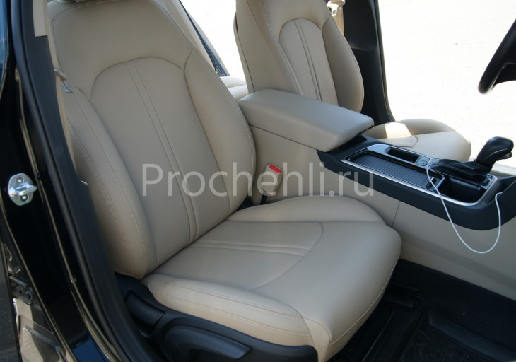 Чехлы для Hyundai Sonata 7 с эффектом перетяжки салона из бежевой экокожи Дакота №5