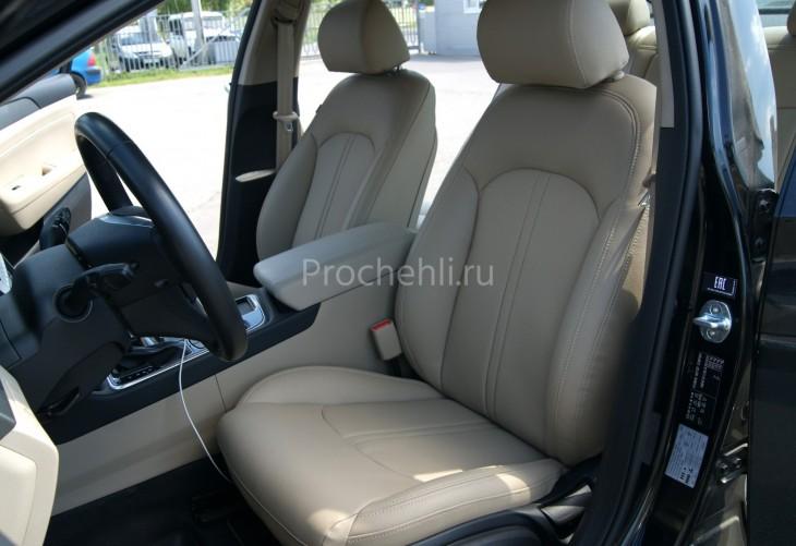 Чехлы для Hyundai Sonata 7 с эффектом перетяжки салона из бежевой экокожи Дакота №6