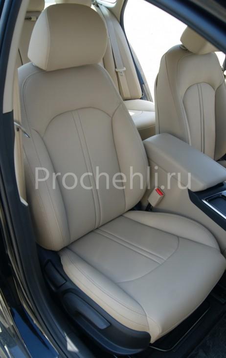 Чехлы для Hyundai Sonata 7 с эффектом перетяжки салона из бежевой экокожи Дакота №7