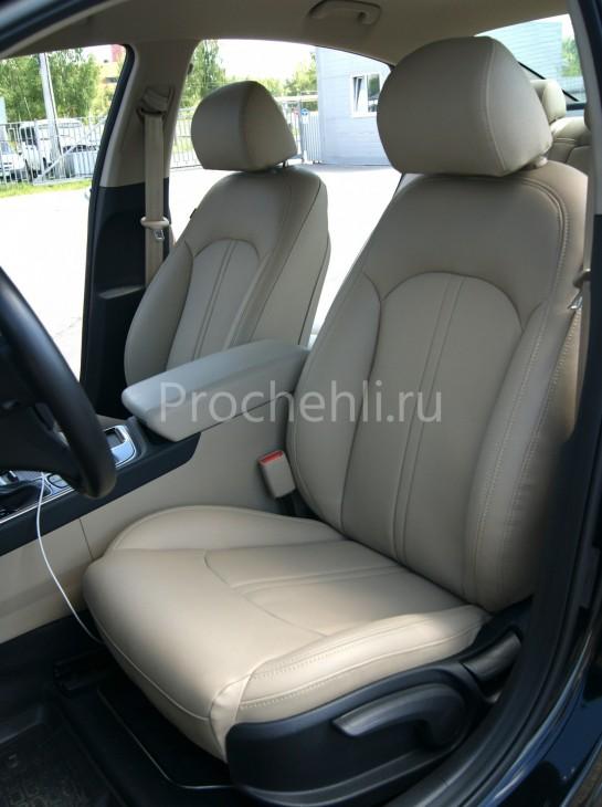 Чехлы для Hyundai Sonata 7 с эффектом перетяжки салона из бежевой экокожи Дакота №8