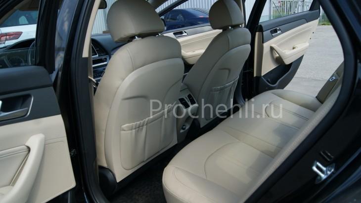 Чехлы для Hyundai Sonata 7 с эффектом перетяжки салона из бежевой экокожи Дакота №9