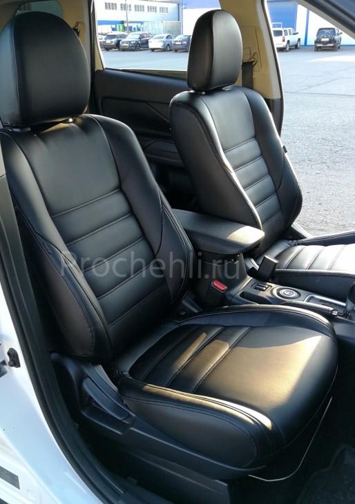 Чехлы на Mitsubishi Outlander 3 с эффектом перетяжки салона из черной экокожи №2