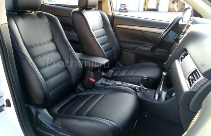 Чехлы на Mitsubishi Outlander 3 с эффектом перетяжки салона из черной экокожи №4